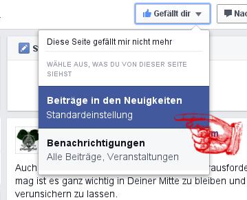 """Als nächstes wählst Du """"Beiträge in den Neuigkeiten"""" im Menü aus."""