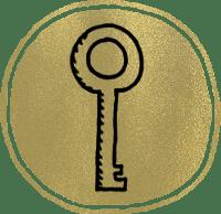 Ein Schlüssel im goldenen Kreis